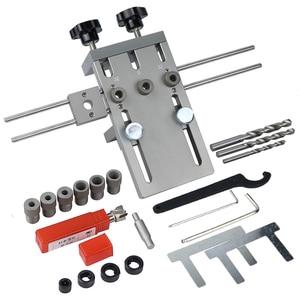 Image 1 - Localizador profesional de punzón de carpintería Plantilla de espigas de madera guía de perforación ajustable para muebles DIY herramientas de posición de conexión