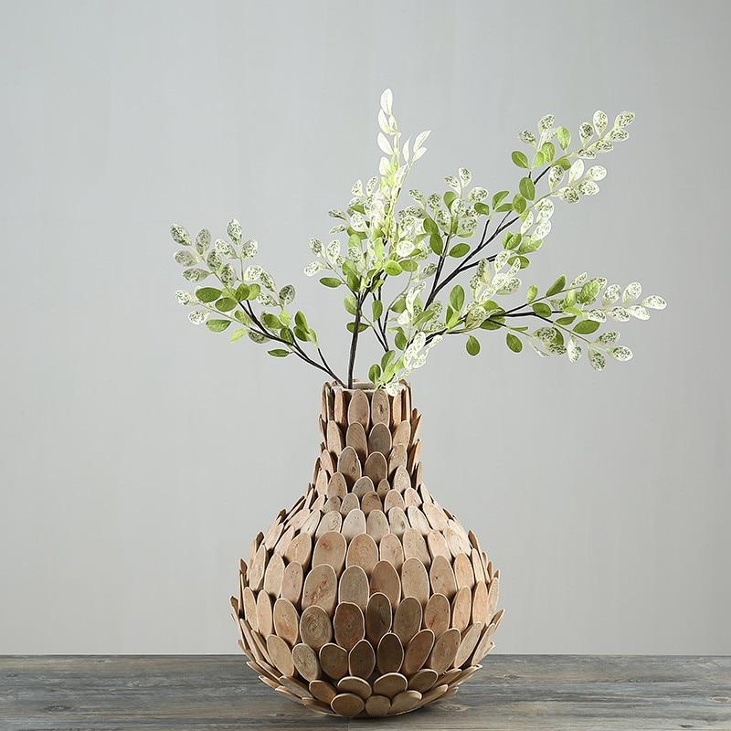 Home Decor Vase Wooden Vases For Flower Gifts Pastoral Style Wedding Gift Tabletop Vase Wood