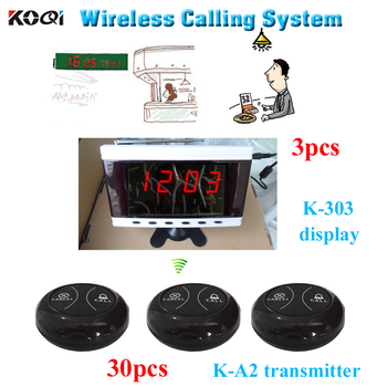 Wireless cafe buzzer device 3 display receivers work with 30 table button 100% waterproof