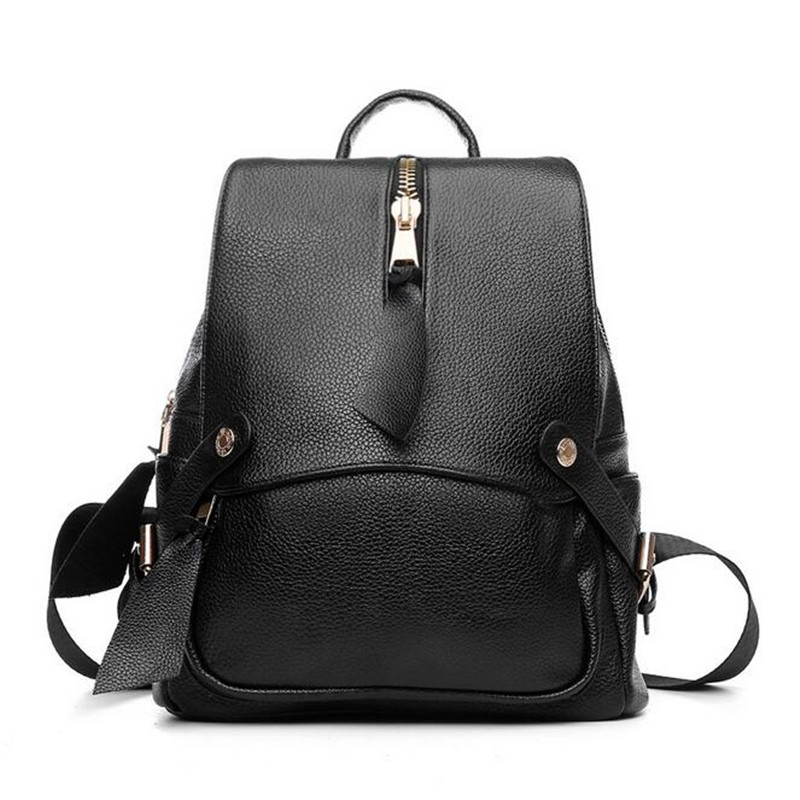 Women Backpack PU Leather Black Shoulder School Bags For Teenagers Girls Female Casual Travel Bags Pack Big Zipper Bags