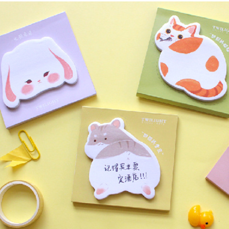 Cute Cat Hamster Rabbit Dog Memo Pad N Times Sticky Notes Escolar Stationery Sticker School Supplies Bookmark Label