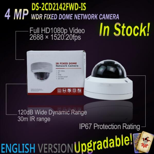 In Stock Hikvision DS-2CD2142FWD-IS English Version 4MP WDR Fixed free shipping in stock new arrival english version ds 2cd2142fwd iws 4mp wdr fixed dome with wifi network camera