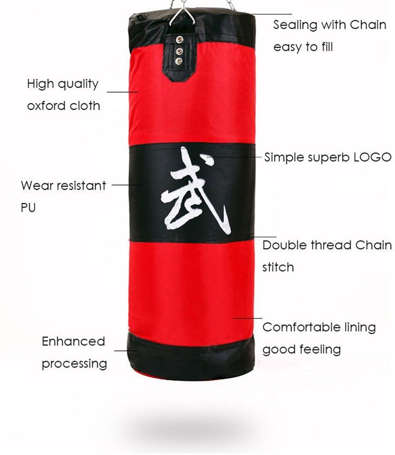 90cm חדש אימונים לחימה משולבת איגרוף תיק וו תלייה בעיטה אגרוף תאילנדי סאנדה שק החבטות Sandbag אגרוף להילחם התיק (ריק) עם ווים
