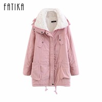 FATIKA 2017 Winter Women's Warm Parkas Cotton Padded Slim Parkas Ladies Casual Wadded Quilt Snow Jacket Outwear for Woman