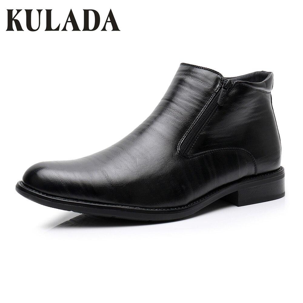 KULADA Boots Men's Winter Shoes Large Size Super Warm Shoes Men's Formal Double Zipper Side Boot's Men's Snow Waterproof Busines