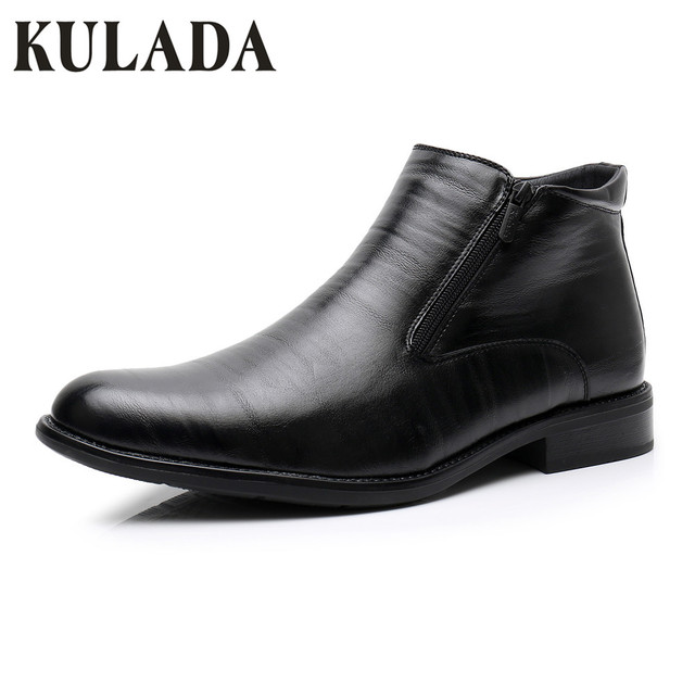 KULADA buty w dużych rozmiarach męskie zimowe kostki buty ocieplane mężczyzn podwójny zamek z boku Boot mężczyźni śnieg Boot męskie skórzane biznes buty 0924-1A