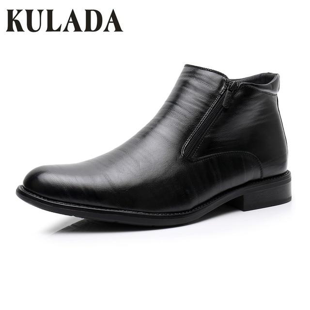 KULADA كبيرة حجم الحذاء الرسمي الرجال الشتاء حذاء من الجلد الرجال مزدوجة الجانب سستة التمهيد الرجال حذاء الثلوج الرجال الأحذية الجلدية الأعمال 0924 -1
