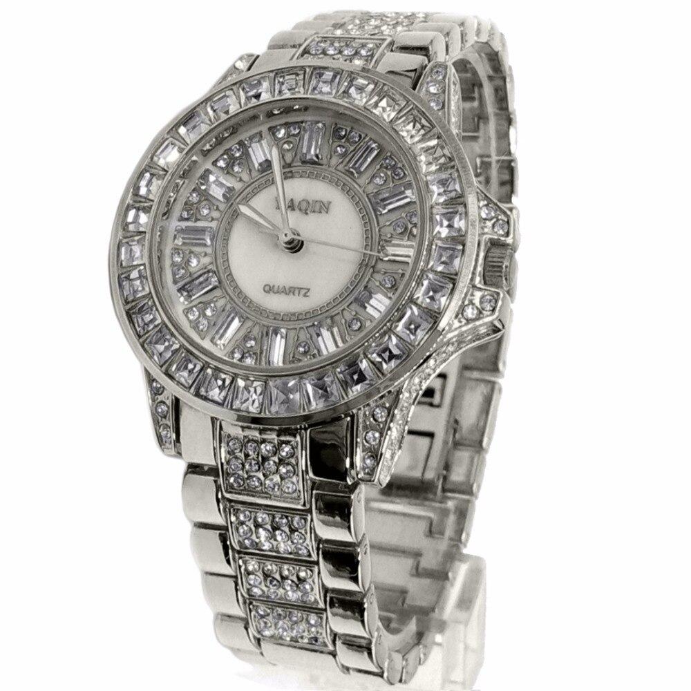 Luxus Marke Damen Analog Quarz Runde Uhr Japan PC21J Bewegung Shiny Silber Metall Band Weißes Zifferblatt-in Damenuhren aus Uhren bei