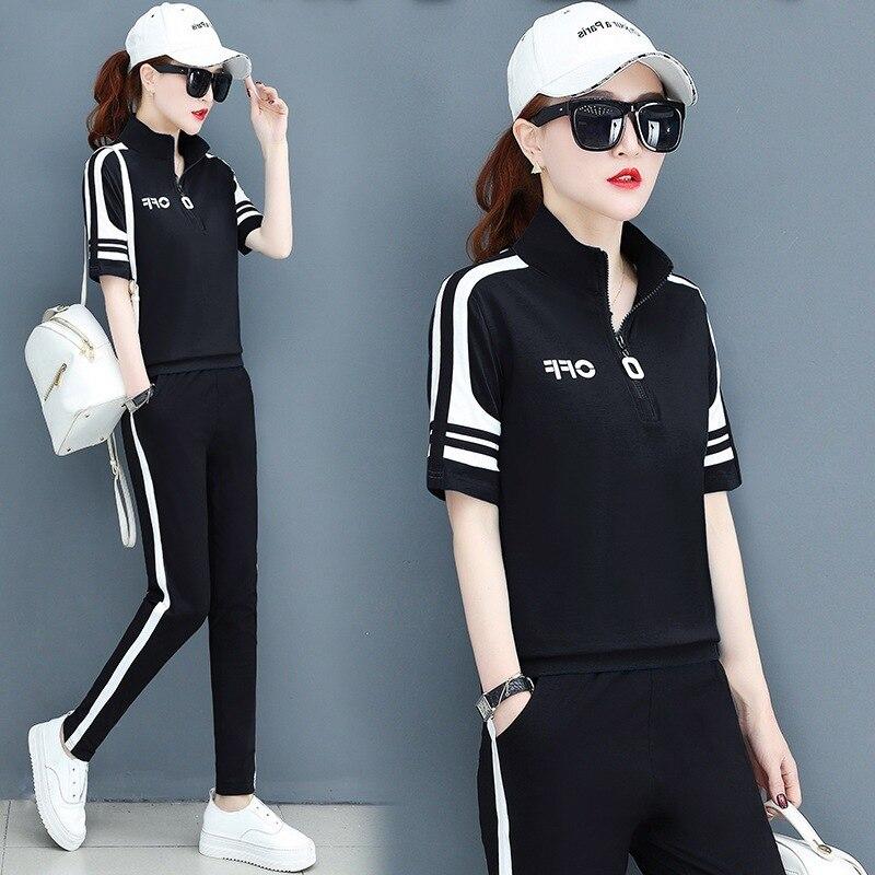 summer women sportswear tracksuit short sleeve T-shirt sweatshirt+pant running jogger exercise fitness workout casual sport suit 56
