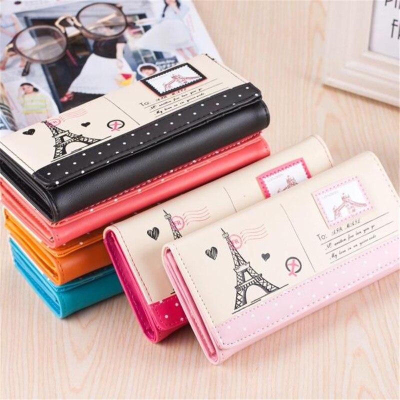 2016 Women s Girls Eiffel Tower Stamp Coin Purse womens wallets Card Case Handbag sac femme