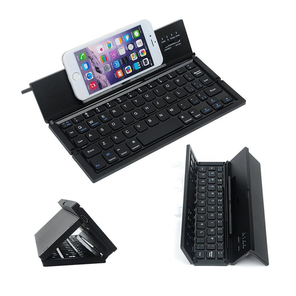 Mini Slim Thin Foldable Folding Bluetooth Wireless Keyboard with Touchpad for iPad Pro Mobile phoneTablet PC Black Freeshipping