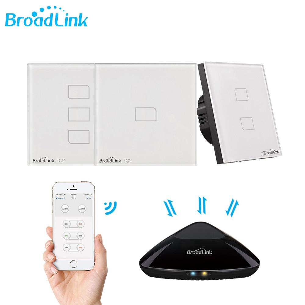Broadlink TC2 UE WiFi Interruttore Della Parete del REGNO UNITO Interruttore Della Lampada Della Luce RF 433MHz Senza Fili di Controllo Via Broadlink RM4 Pro App di controllo Smartphone