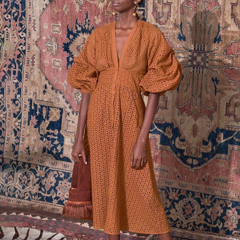 Été garniture couleur pure creux femmes robe 2019 nouveau bulle manches taille haute col en V longue robe femme