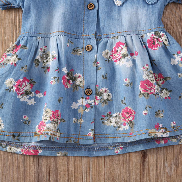 Denim Dress For Girl Baby 2018 New Summer Flower Princess Dress Party Wedding Pageant Dresses Clothes 4