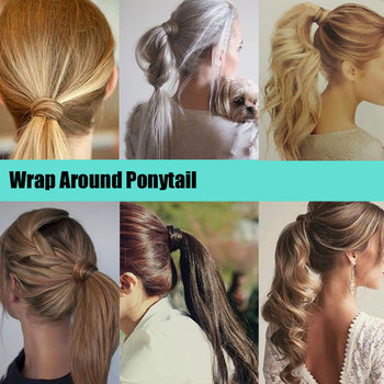 S-noilite 24'' Long Straight Synthetic Ponytail Wrap Around Clip In Ponytail Hair Extensions Heat Resistant Hair Tail 3