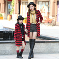 Mother Kids Coat Costume Autumn Winter Chidori Plaid Long Coat Fashion Casual Girls Hooded Jacket Kids Clothes Family Clothing