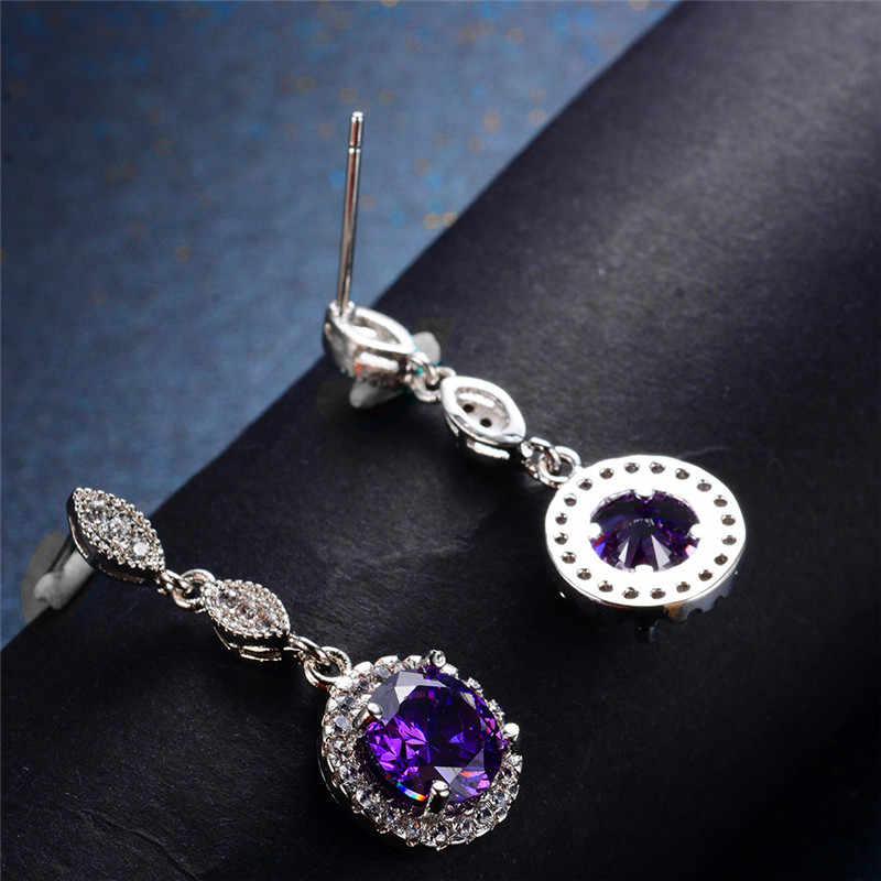 หญิงหรูหราสีชมพูสีม่วงต่างหูหิน 925 Silver Rose Gold รอบ Dangle ต่างหูผู้หญิงน้ำแขวนต่างหู
