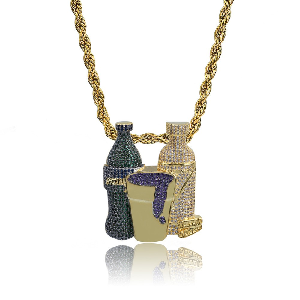 Hip Hop Combo Iced Out Bling Sprite Bottle Purple Cup Pendant Necklace Gold Silver Color Cubic Zircon Men's Jewelry For Gift new hip hop fashion 69 saw clown necklace cubic zircon gold silver saw horror movie theme pendant necklace iced out micro pave