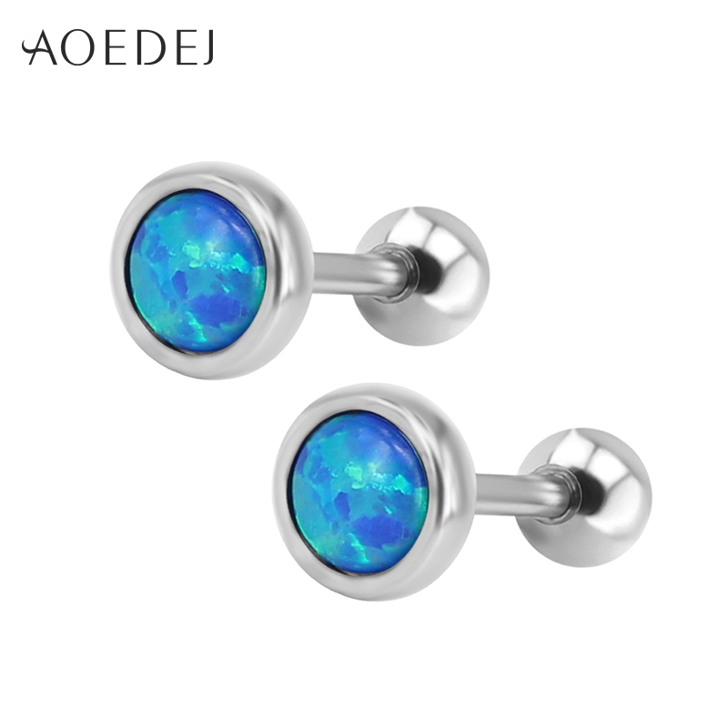 AOEDEJ 6-8mm Blue Fire Opal Earrings Stainless Steel Round Small Stud Earrings For Women Girls Childrens Oorbellen voor vrouwen ...