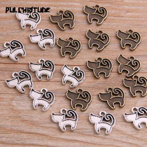 PULCHRITUDE 40PCS 13*13mm New Product Two Color Small Cat Charms Animal Pendant Jewelry Metal Alloy Jewelry Marking