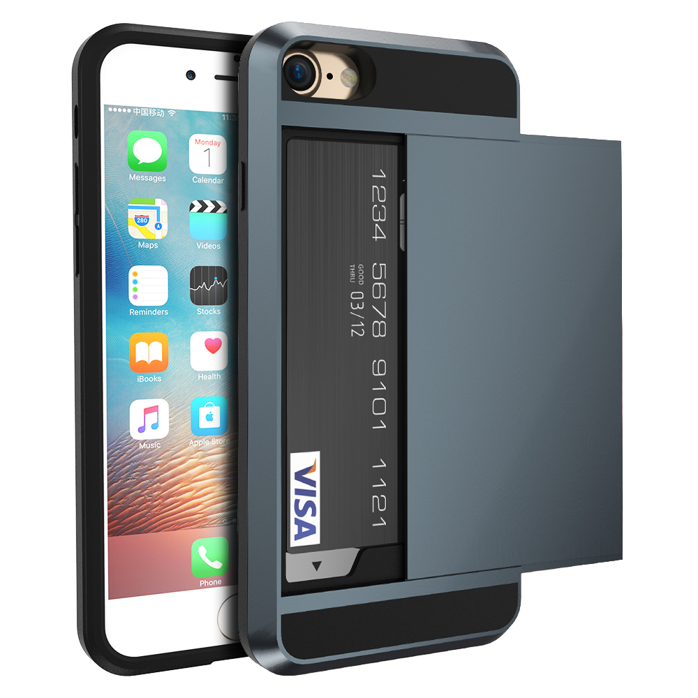 Armor Slide Case For iPhone 5s Business Card Slot Holder Cover For ...