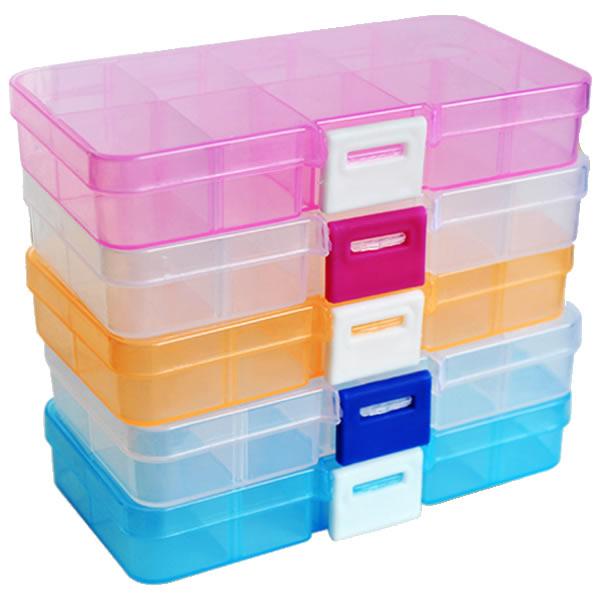 1x Plastic 10-36Slots Jewelry Storage Box Case Craft Organizer Bead Container US