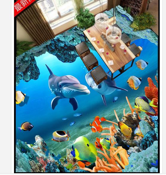 ФОТО Customized 3d wallpaper 3d floor painting wallpaper Dolphin 3 d bathroom floor tile background wall beauty room decoration