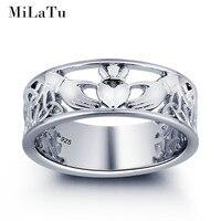 MiLaTu Exclusieve Echt 925 Sterling Zilveren Claddagh Ringen Voor Vrouwen ierse Hand Hart Kroon Ring Vrouwen Gift Anel Gratis Doos R014S