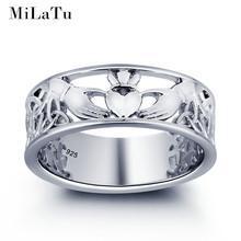 MiLaTu Exclusive 925 Solid Silver Claddagh Rings For Women Irish Love Hand Heart Crown Wedding Ring Women Jewelry Bague R014S