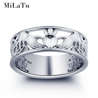 MiLaTu Genuine 925 Solid Silver Jewelry Irish Wedding Jewelry Claddagh Rings For Women Love Hand Heart