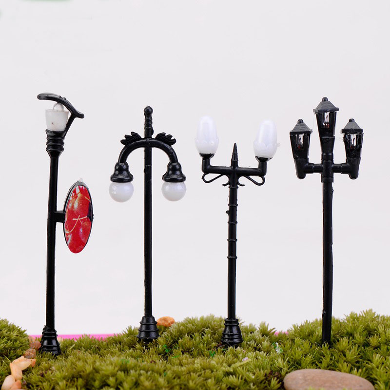 5pcs/set Miniature Streetlights Cute Resin Crafts Decorations Fairy Gnome Terrarium Christmas Party Garden Gift Random Style