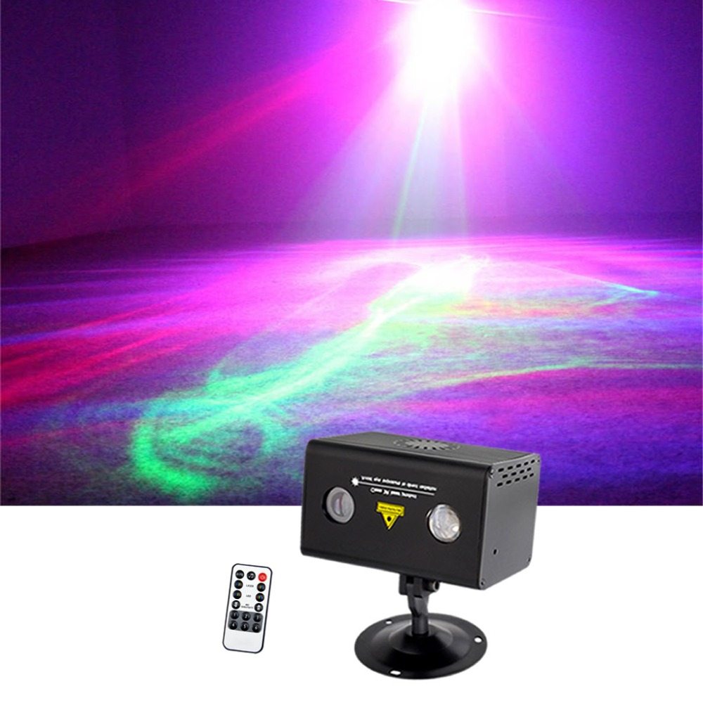 Sharelife Mini  Remote Control Red Green Hypnotic Aurora DJ Laser Light Mixed RGB LED Home Gig Party Show Stage Lighting LL200RG