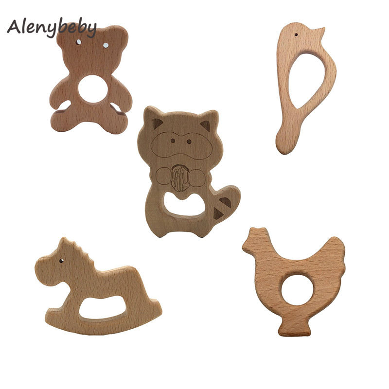 Organic Baby Teether Toy Natural Handmade Unfinished Beech Wooden Teether DIY