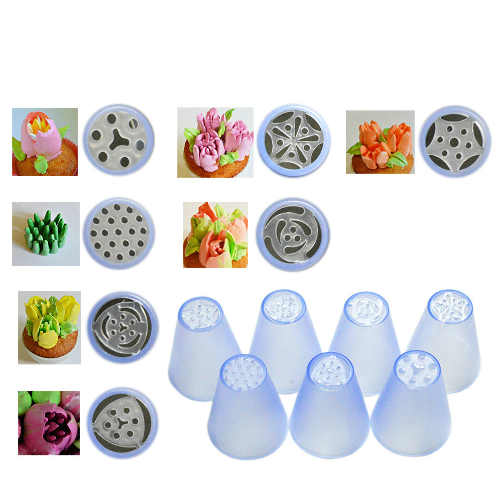 Plastic Russian Tips Pastry Nozzle 7pcs/set 3D Flower Decorating Tips Molding Icing Piping Baking Tools Cake Decorating Tools