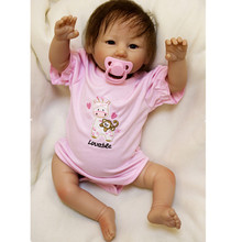 2017 20inch Soft Body Silicone Reborn Baby Doll Vinyl Newborn Girl Babies Dolls Toy for Girls Kids Child Gift Girl Brinquedos