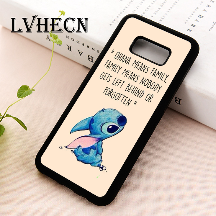 Lvhecn Phone Case For Samsung Galaxy S5 S6 S7 S8 S9 S10 Edge Plus S10e Note 5 8 9 Cartoon Animal Ohana Means Family Lilo Stich Fitted Cases Phone Bags & Cases