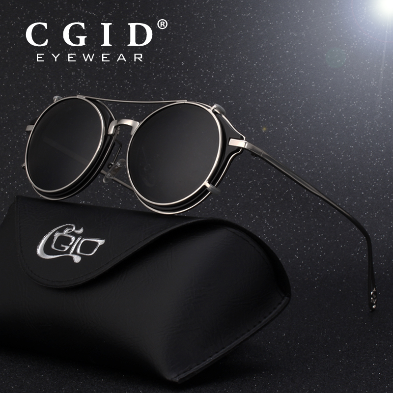 CGID Men Polarized Sunglasses Round Steampunk Shades Brand Designer Sun Glasses Vintage Metal Sunglass E76