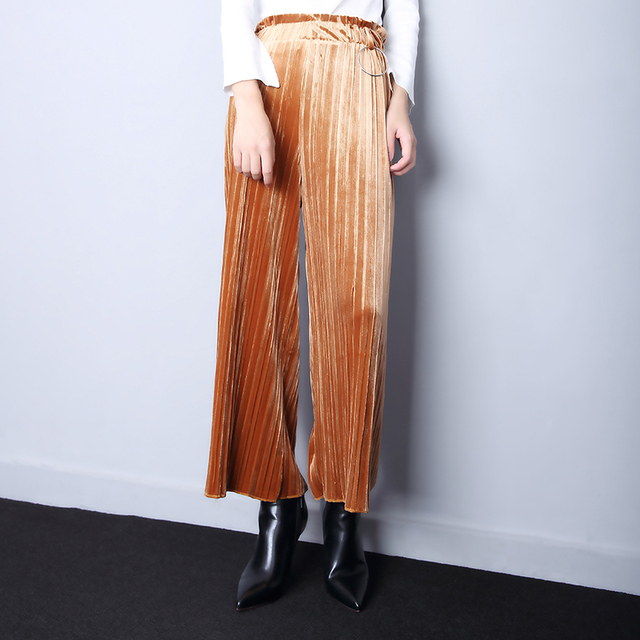 2017 primavera nuevas mujeres de la manera metálico sueltos pantalones de pierna ancha ocasional sólido de cintura alta de terciopelo plisado mujeres culotte