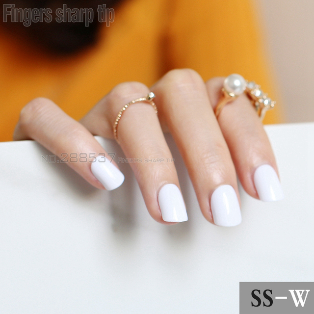 2017 New 24pcs False Nails Pure White Candy Short Paragraph Round Square Head Comfortable Multicolor All