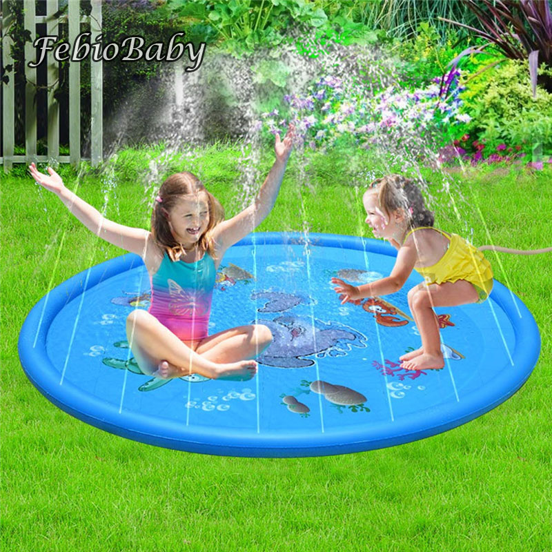 170cm Large Summer Marine Inflatable Children's Outdoor Play Water Game Beach Mat Spray Water Lawn Sprinkler Toys Fun For Baby