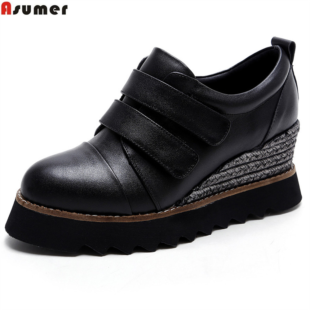 ASUMER black white fashion spring autumn pumps shoes platform wedges shoes for women genuine leather high heels shoes siketu 2017 free shipping spring and autumn women shoes fashion sex high heels shoes red wedding shoes pumps g107