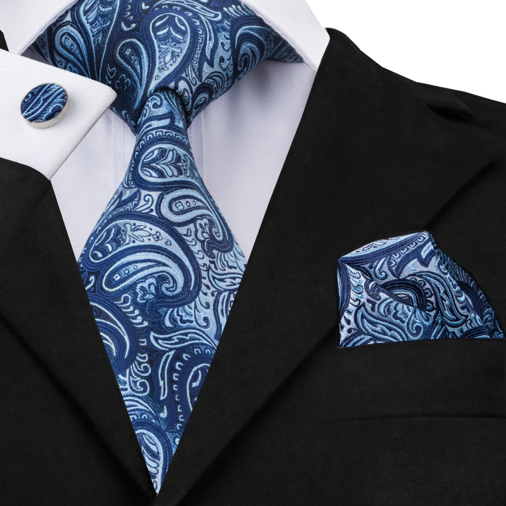 SN-1430 New Arriving Paisley Tie Set Luxury Blue Neck Tie Hanky Cufflinks Set Hi-Tie Silk Ties For Mens Business Wedding Party