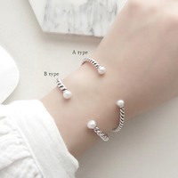 ROCKART Real 925 Sterling Silver Vintage Twisted Rope Bracelet With Natural Freshwater Pearl For Women Fine