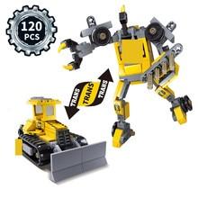 цена на Newest KAZI 120Pcs Bricks Trans Toys City Bulldozer Engineering Vehicles Robot Model Building Blocks compatible lepin star wars