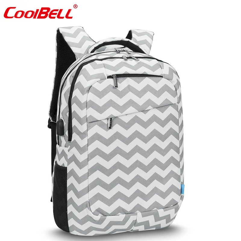 CoolBell 17.3 Inch Laptop Backpack With USB Port Waterproof Lightweight Notebook School Bag Men Striped Casual Travel Backpacks waterproof lightweight stylish classical school backpack pure color fashion laptop backpack with usb charge port