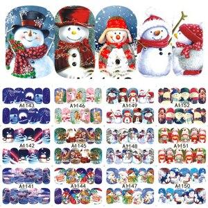 Image 3 - 12PCS Botas Sinos Cervos Do Boneco de Neve Árvore de Natal Deslizante de Transferência da Água Nail Art Adesivo Decalque Manicure Ferramenta Dicas Wraps JIA1129 1176