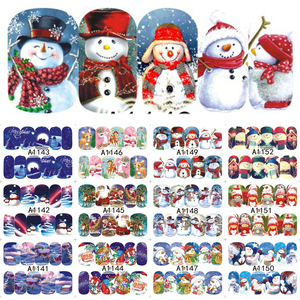 Image 3 - 12PCS Christmas Snowman Tree Boots Bells Deer Water Transfer Nail Art Sticker Decal Slider Manicure Wraps Tool Tips JIA1129 1176