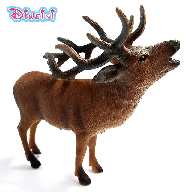 Christmas Red Deer Simulation Forest Animal Model Doll Zoo PVC Figurine  Plastic Toys Home Ornaments Decoration