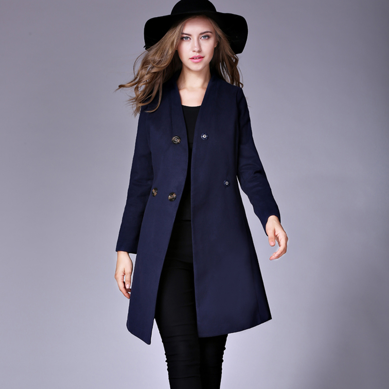 Navy Wool Coat Ladies | Fashion Women's Coat 2017
