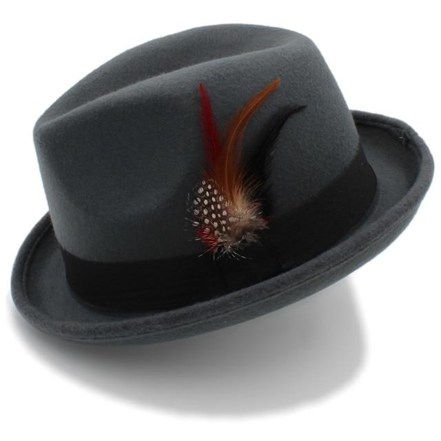 Men's Feminino Felt Fedora Hat for Dad Winter Autumn Wool Church Roll Up Brim Homburg Jazz Hat Feather Hat